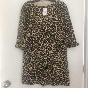 NWT J. Crew girl knit leopard dress size 14